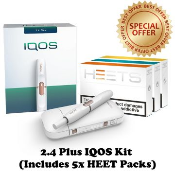 White IQOS 2.4 Plus Starter Kit with 5 Packs of HEETS